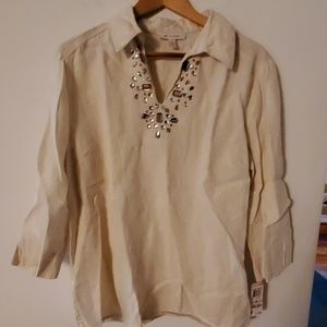 JM Collection NWT Cream Long Sleeve Blouse - 10